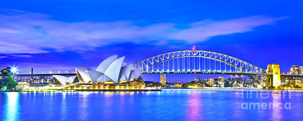 Light Blue Photograph - Sydney Harbour Blues Panorama by Az Jackson