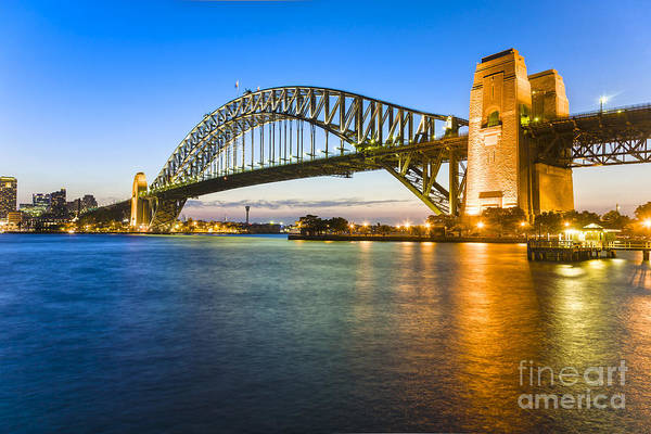 Wall Art - Photograph - Sydney Harbour Bridge Illuminated At Twilight by Colin and Linda McKie