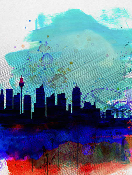 Wall Art - Painting - Sydney Watercolor Skyline by Naxart Studio