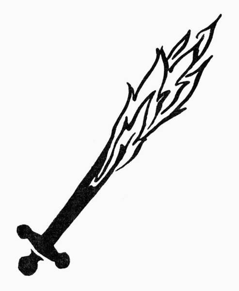 Flaming Sword Painting - Symbol Flaming Sword by Granger