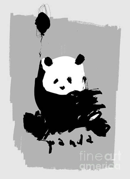 Front Digital Art - Symbolic Image Of A Panda On A Gray by Dmitriip