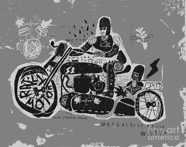 Bike Digital Art - Symbolic Image Of An Old Racing by Dmitriip