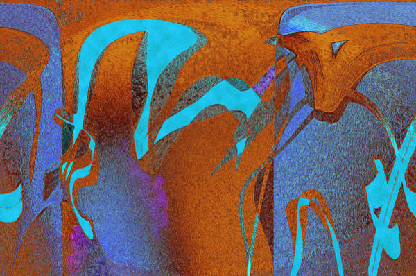 Gestural Digital Art - Symphonic Blue 9 by Lynda Lehmann