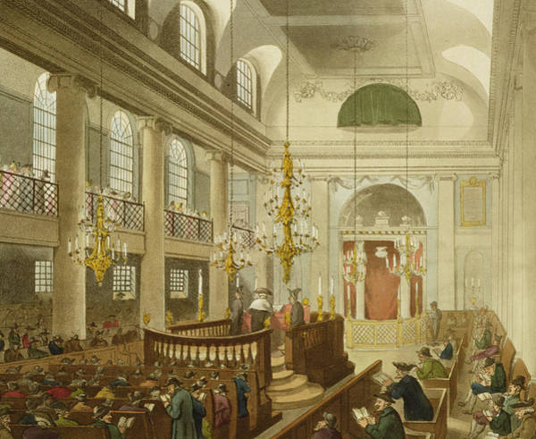 Sunderland Wall Art - Drawing - Synagogue At Dukes Place In Houndsditch by Pugin And Rowlandson