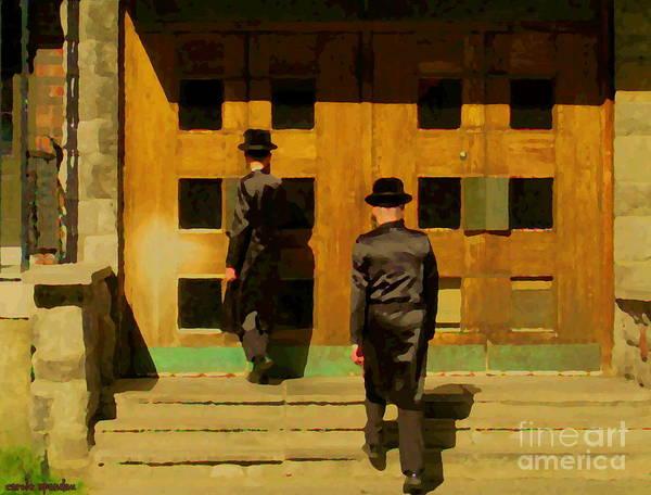 Painting - Synagogue Saturday Service Hasidic Community Plateau Montreal Outremont City Scene Carole Spandau by Carole Spandau