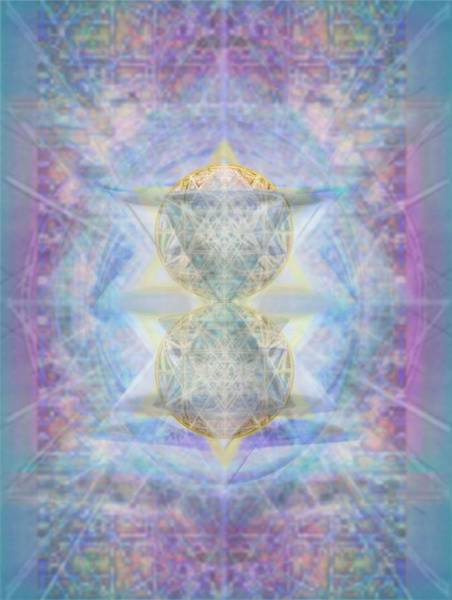 Digital Art - Synthecentered Doublestar Chalice In Blueaurayed Multivortexes On Tapestry Lg by Christopher Pringer