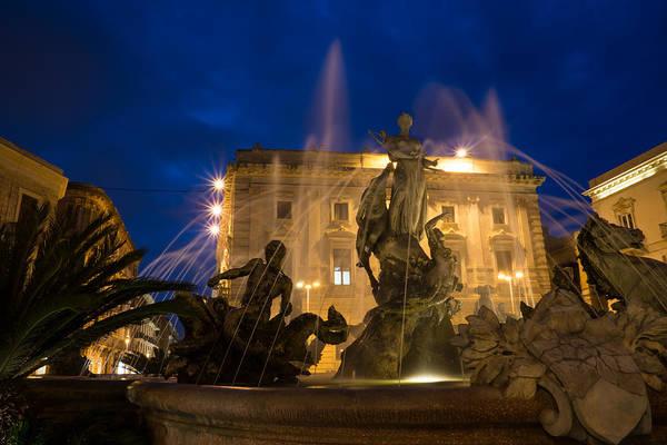 Photograph - Syracuse Sicily Blue Hour - Fountain Of Diana On Piazza Archimede by Georgia Mizuleva