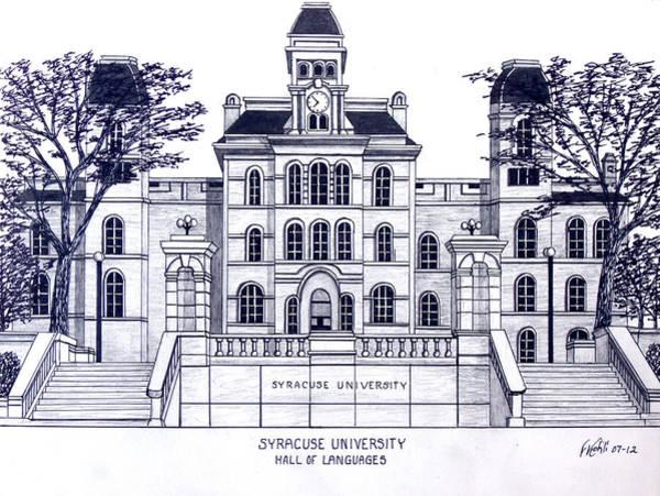 Pen And Ink Mixed Media - Syracuse University by Frederic Kohli