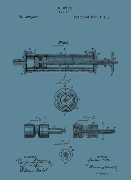 Drawing - Syringe Patent Drawing Blue by Dan Sproul