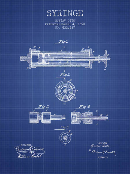 Needles Digital Art - Syringe Patent From 1890 - Blueprint by Aged Pixel