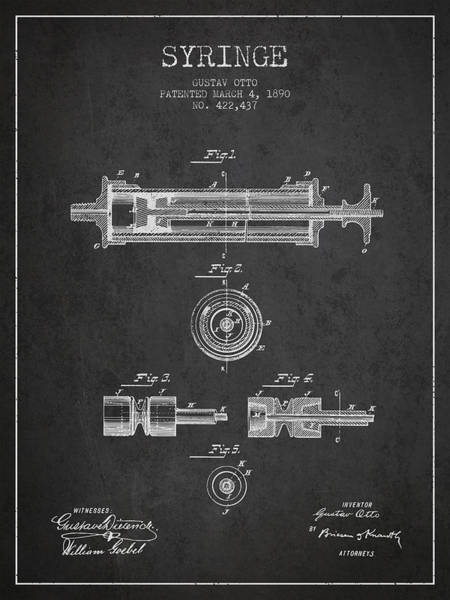 Needles Digital Art - Syringe Patent From 1890 - Dark by Aged Pixel
