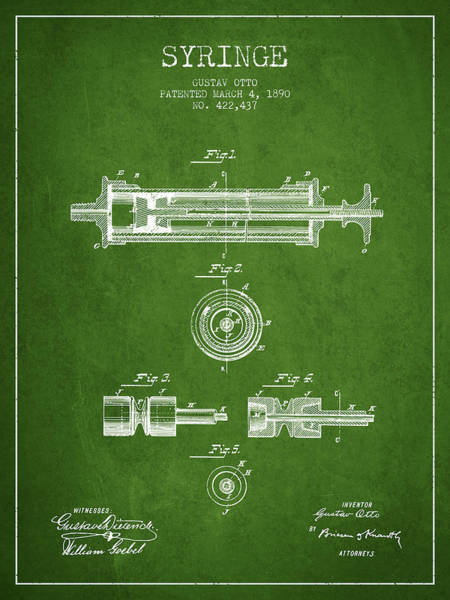Needles Digital Art - Syringe Patent From 1890 - Green by Aged Pixel