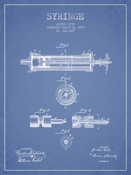 Needles Digital Art - Syringe Patent From 1890 - Light Blue by Aged Pixel