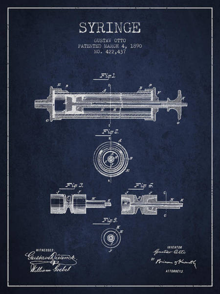 Needles Digital Art - Syringe Patent From 1890 - Navy Blue by Aged Pixel