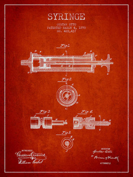 Needles Digital Art - Syringe Patent From 1890 - Red by Aged Pixel