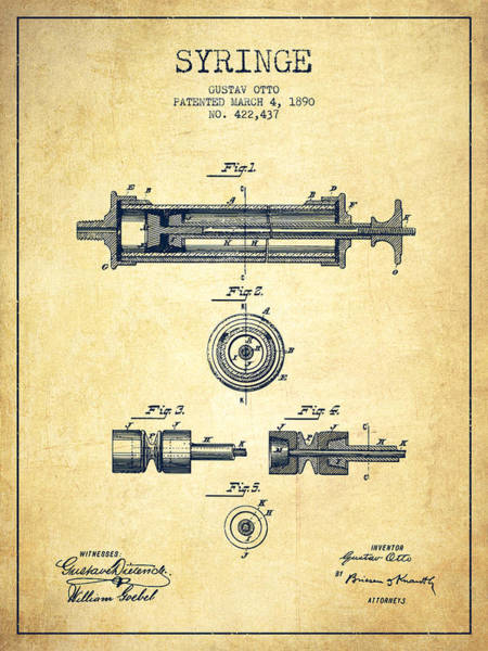 Needles Digital Art - Syringe Patent From 1890 - Vintage by Aged Pixel