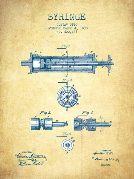 Needles Digital Art - Syringe Patent From 1890 - Vintage Paper by Aged Pixel