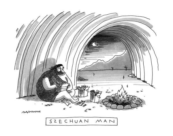 Man Cave Drawing - Szechuan Man by Mick Stevens