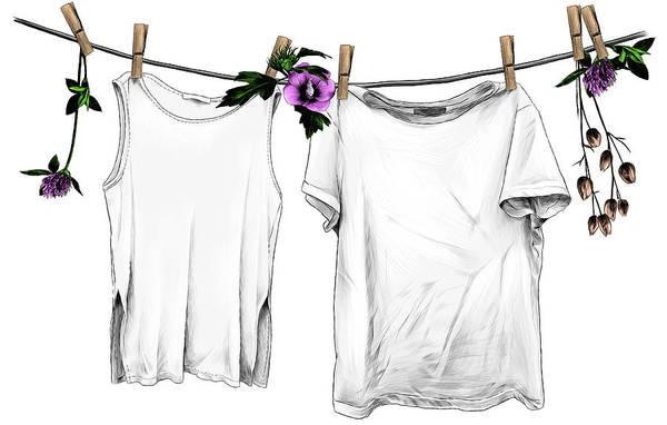 Digital Art - T-shirt And Sleeveless T-shirt Hanging by Maksim-manekin