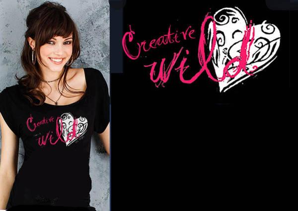 Wiese Digital Art - T-shirt Design - Creative Wild Heart by Wendy Wiese
