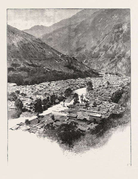Chien Drawing - Ta-chien-lu A Mountain Village Altitude 8400 Feet by English School