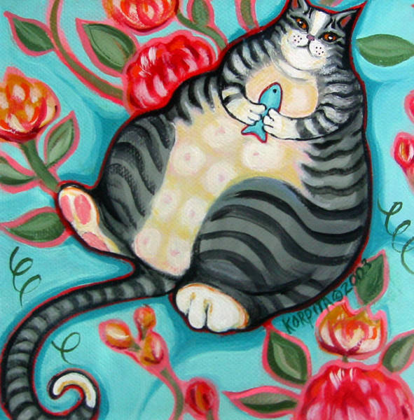 Fat Cat Painting - Tabby Cat On A Cushion by Rebecca Korpita
