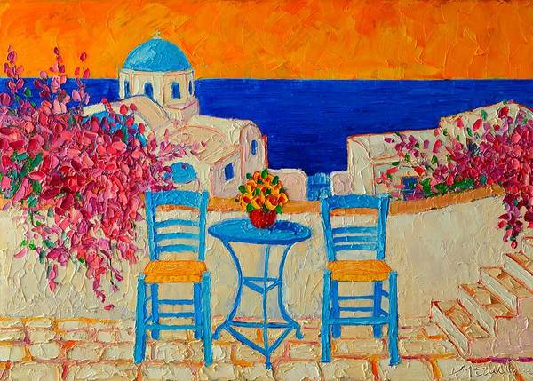 Maria Island Wall Art - Painting - Table For Two In Santorini Greece by Ana Maria Edulescu