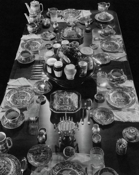 Feast Photograph - Table Settings On Dining Table by The 3