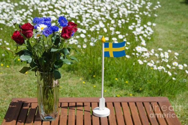 Rights Managed Images Wall Art - Photograph - Table With Summer Flowers  by Kennerth and Birgitta Kullman