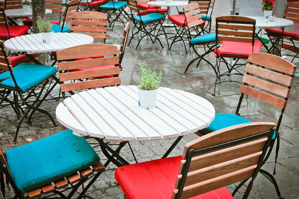 Fresco Wall Art - Photograph - Tables And Chairs by Tom Gowanlock