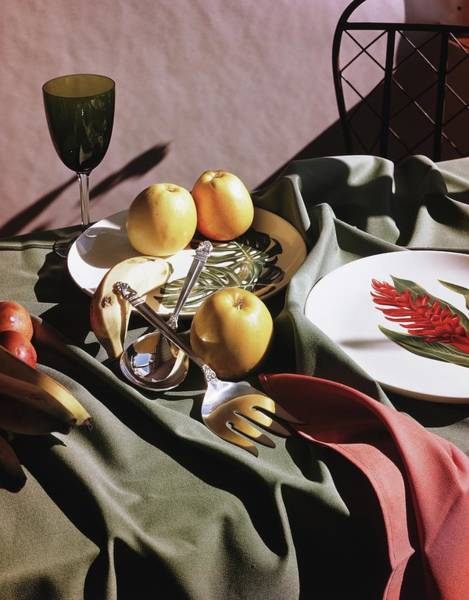 Plate Photograph - Tableware With Fruit by Horst P. Horst