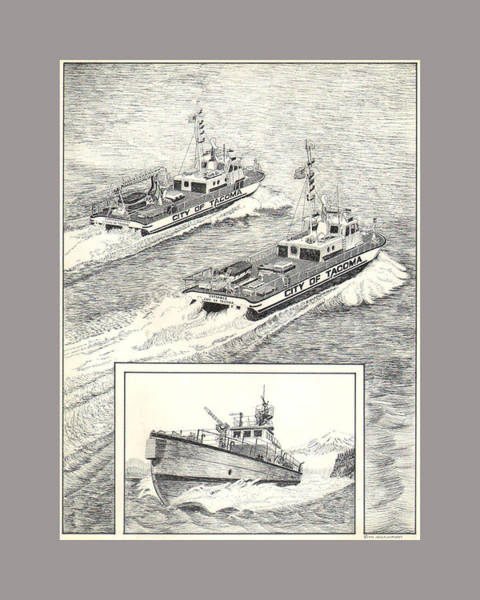 Fireboat Wall Art - Drawing - Tacoma Fireboats New And Old Number 1 by Jack Pumphrey
