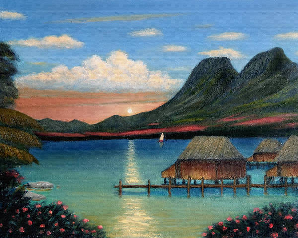 Tahiti Wall Art - Painting - Tahitian Sunset by Gordon Beck