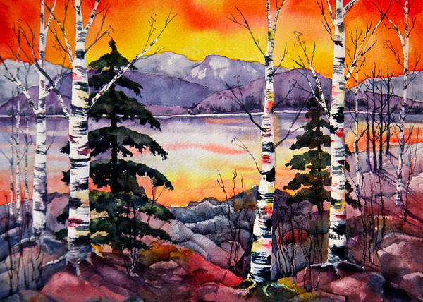 Mountain Lake Painting - Tahoe Sunset IIi by Eva Nichols