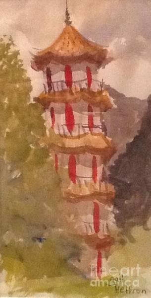My Son Painting - Taiwan Pagoda by Gail Heffron