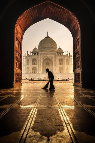 Broom Photograph - Taj Mahal Cleaner by Pavol Stranak