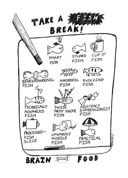 April 2nd Drawing - Take A Fish Break: Title by Stephanie Skalisk