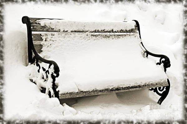 Photograph - Take A Seat  And Chill Out - Park Bench - Winter - Snow Storm Bw 2 by Andee Design