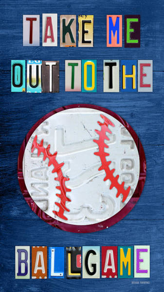 Recycling Mixed Media - Take Me Out To The Ballgame License Plate Art Lettering Vintage Recycled Sign by Design Turnpike