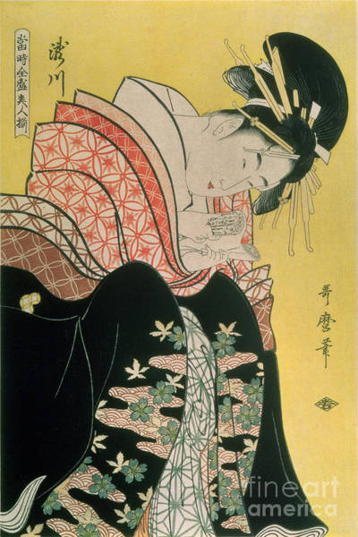 Woodblock Painting - Takigawa From The Tea House Ogi by Kitagawa Otamaro