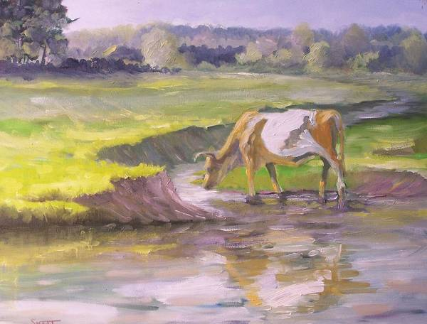 Sand Creek Painting - Taking A Drink by Dan Smart