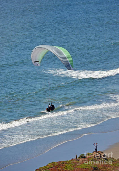 Above And Below Wall Art - Photograph - Taking A Photo Of Hang Gliders In Daly City By The Pacific Ocean by Jim Fitzpatrick