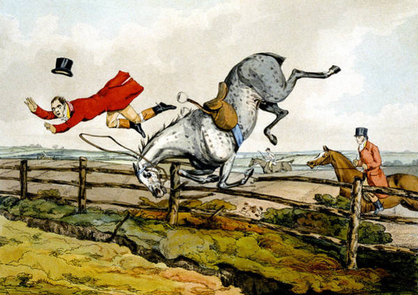 Accident Painting - Taking A Tumble From Qualified Horses And Unqualified Riders by Henry Thomas Alken