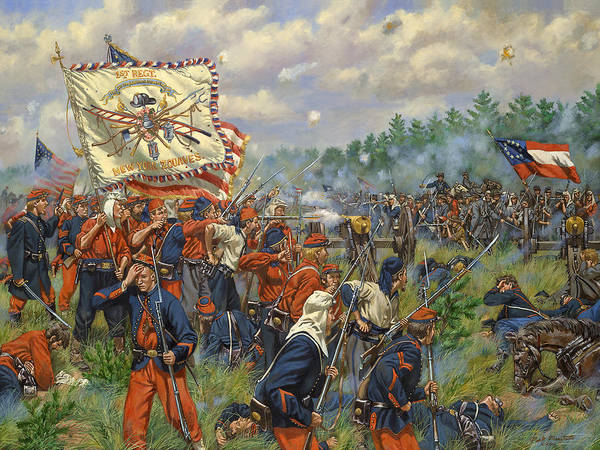Wall Art - Painting - Taking Griffin's Battery - 11th New York Fire Zouaves And 14th Brooklyn - Battle Of First Manassas by Mark Maritato