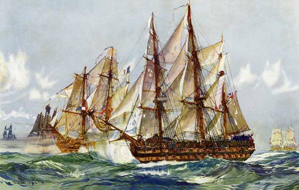 1805 Painting - Taking On The Duguay Trouin After Trafalgar by Charles Edward Dixon