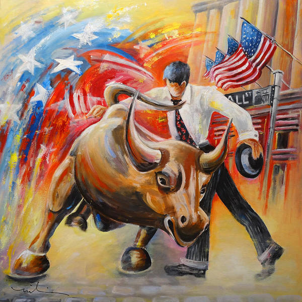 Painting - Taking On The Wall Street Bull by Miki De Goodaboom