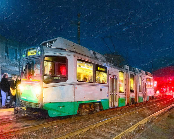 Photograph - Taking The T At Night In Boston by Mark Tisdale