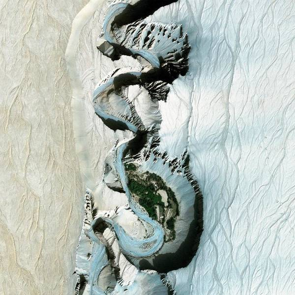 Water Erosion Photograph - Taklamakan Desert River by Geoeye/science Photo Library