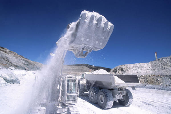 Excavator Photograph - Talc Quarrying Machines by Philippe Psaila/science Photo Library