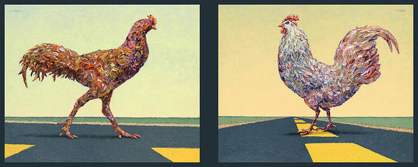 Wall Art - Painting - Tale Of Two Chickens by James W Johnson